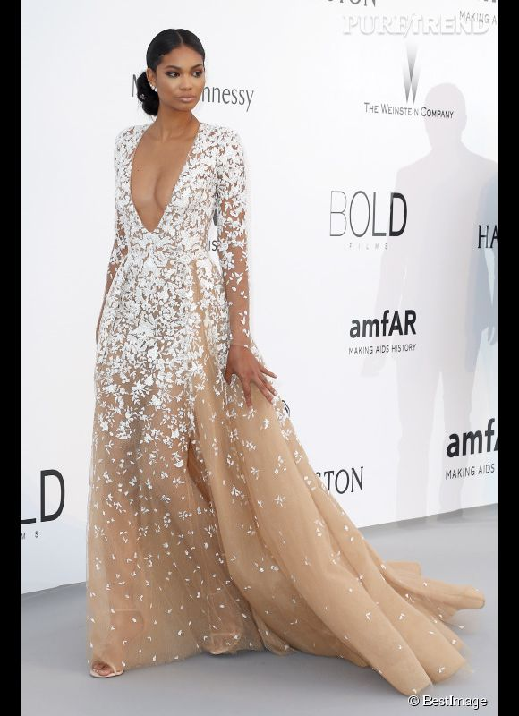 Chanel Iman en Zuhair Murad au 22ème gala de l'amfAR Cinema against AIDS le 21 mai 2015 à Cannes.