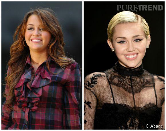 """Miley Cyrus, brune à l'époque d'""""Hannah Montana"""" VS Miley Cyrus blonde."""