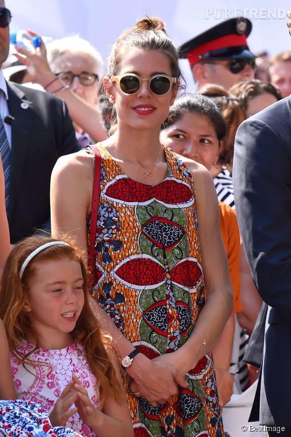 Charlotte Casiraghi était présente lors du lancement des festivités organisées à l'occasion des 10 ans de règne du Prince Albert II à Monaco le 11 juillet 2015.