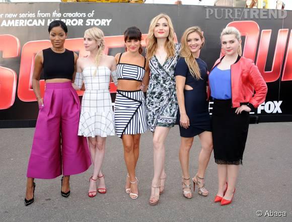 """Keke Palmer, Emma Roberts, Lea Michele, Skyler Samuels, Billie Lourd et Abigail Breslin assurent la promotion de """"Scream Queens"""" au Comic-Con de San Diego le 11 juillet 2015."""
