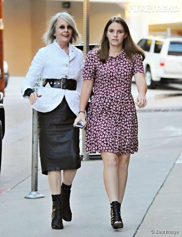 Diane Keaton et sa fille Dexter dans les rues de Los Angeles le 27 juillet 2015.