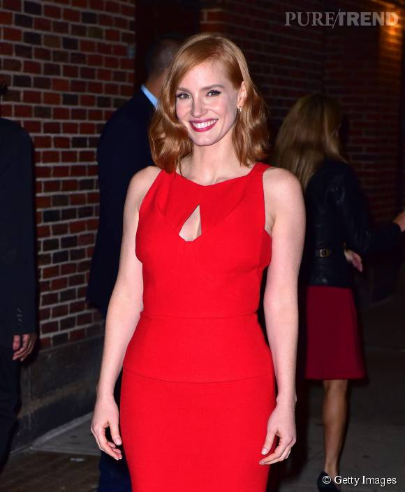 Jessica Chastain sublime dans sa robe rouge.