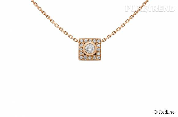 """Redline Collier """"So VIP"""" en or rose et diamants. 1 230 euros."""