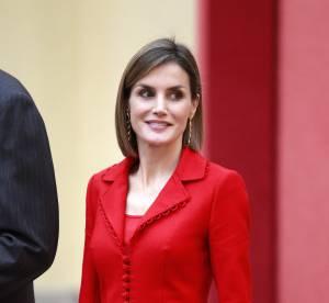Letizia d'Espagne : tailleur rouge et cheveux plus longs, la reine se glamourise