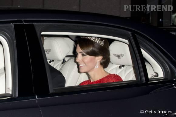 Kate Middleton a fait sensation à son arrivée pour le dîner d'Etat à Buckingham Palace.