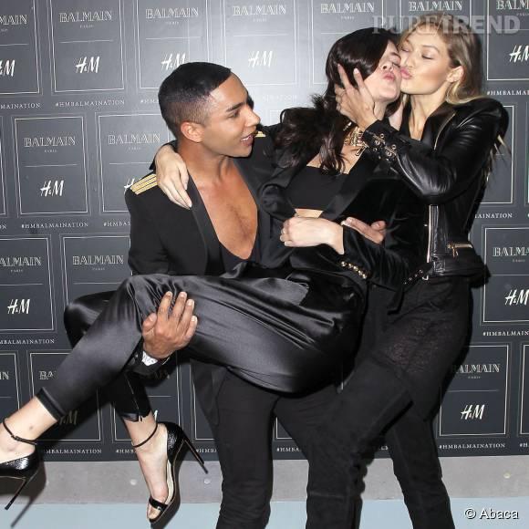 Olivier Rousteing, Kendall Jenner et Gigi Hadid à la soirée de lancement de la collection H&M x Balmain.