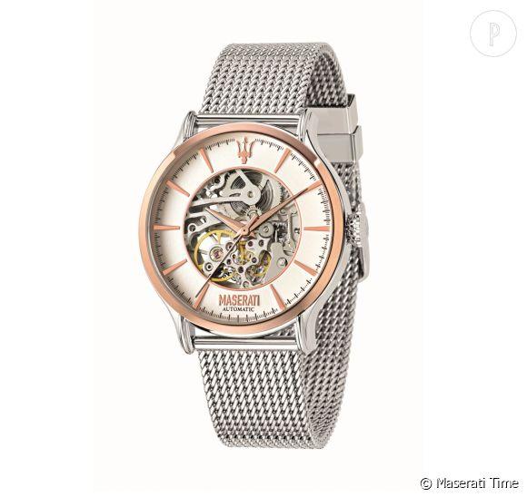 Montre squelette automatique Epoca en acier et or rose, boîtier 42 mm, bracelet en acier maille milanaise, 389 euros.