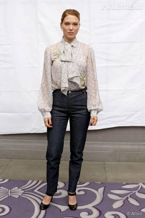"""Léa Seydoux, une James Bond girl en jean pour la promotion de """"Spectre""""."""