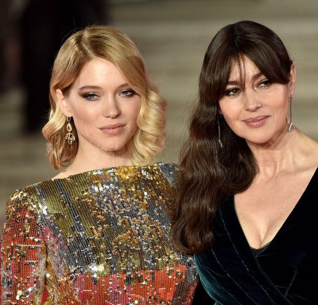 """Léa Seydoux et Monica Bellucci à l'avant-première mondiale de """"Spectre"""", ce lundi 26 octobre 2015."""