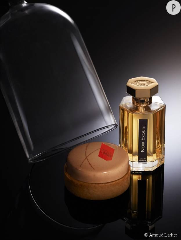 L'Exquis, une gourmandise signée Arnaud Larher inspiré du parfum Noir Exquis de L'Artisan Parfumeur.