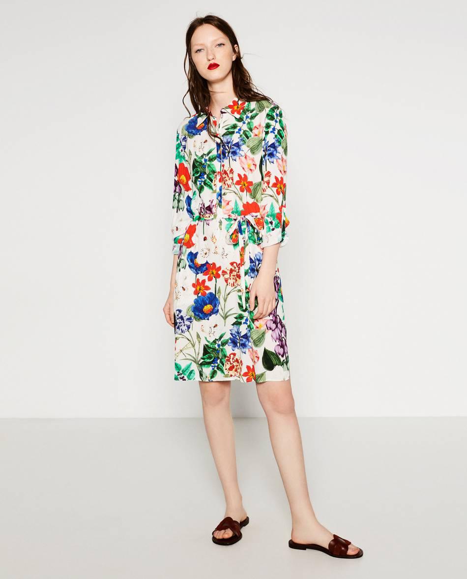 Robe fleurie Zara, 49,95\u20ac.