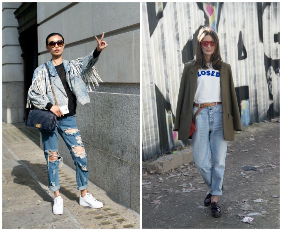 Street style des jeans de la saison : jean élimé Vs jean boyfriend.