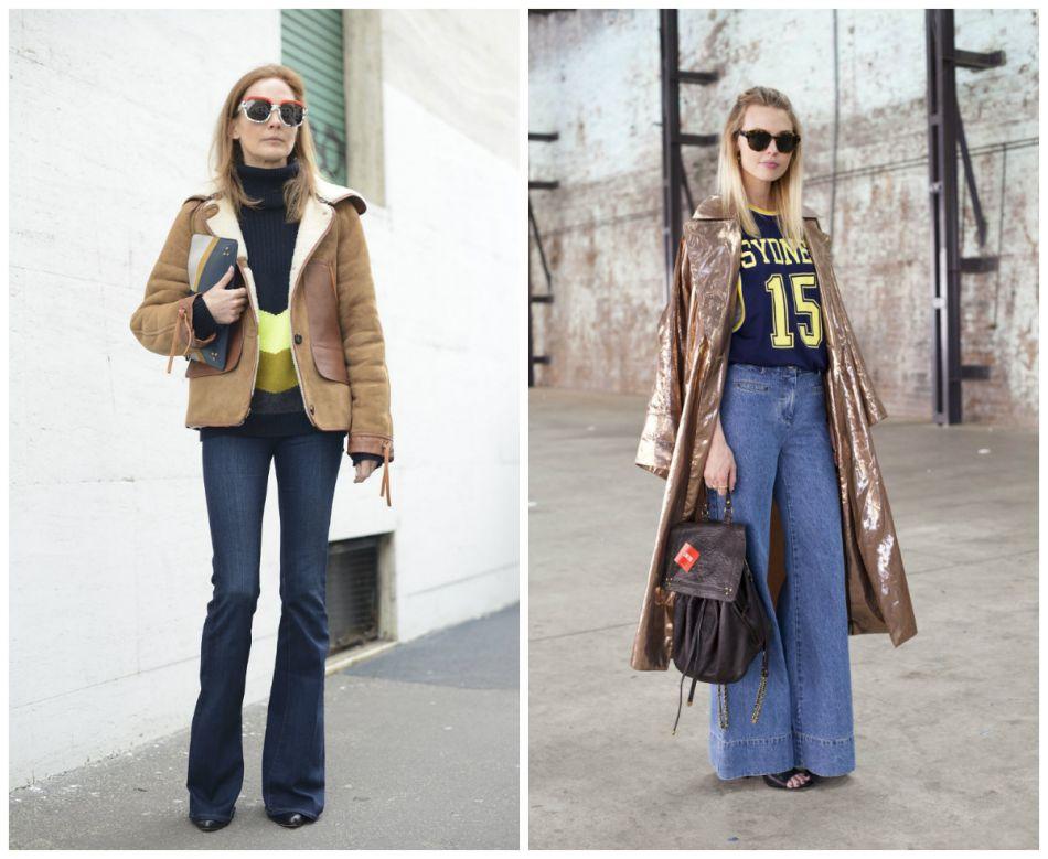 Street style des jeans de la saison : jean flare VS jean oversize.