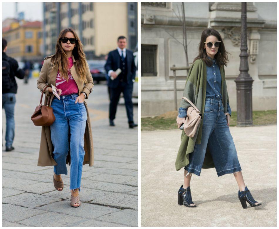 Street style des jeans de la saison : jean mom Vs jupe culotte.