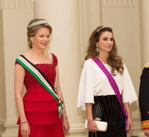 Rania de Jordanie reine fashion, en Balmain lors d'un banquet en Belgique