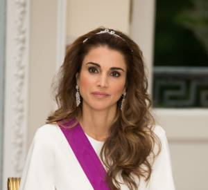 Le roi et la reine de Jordanie lors d'un dîner officiel chez le roi et la reine de Belgique le 18 mai 2016 au château de Laeken.