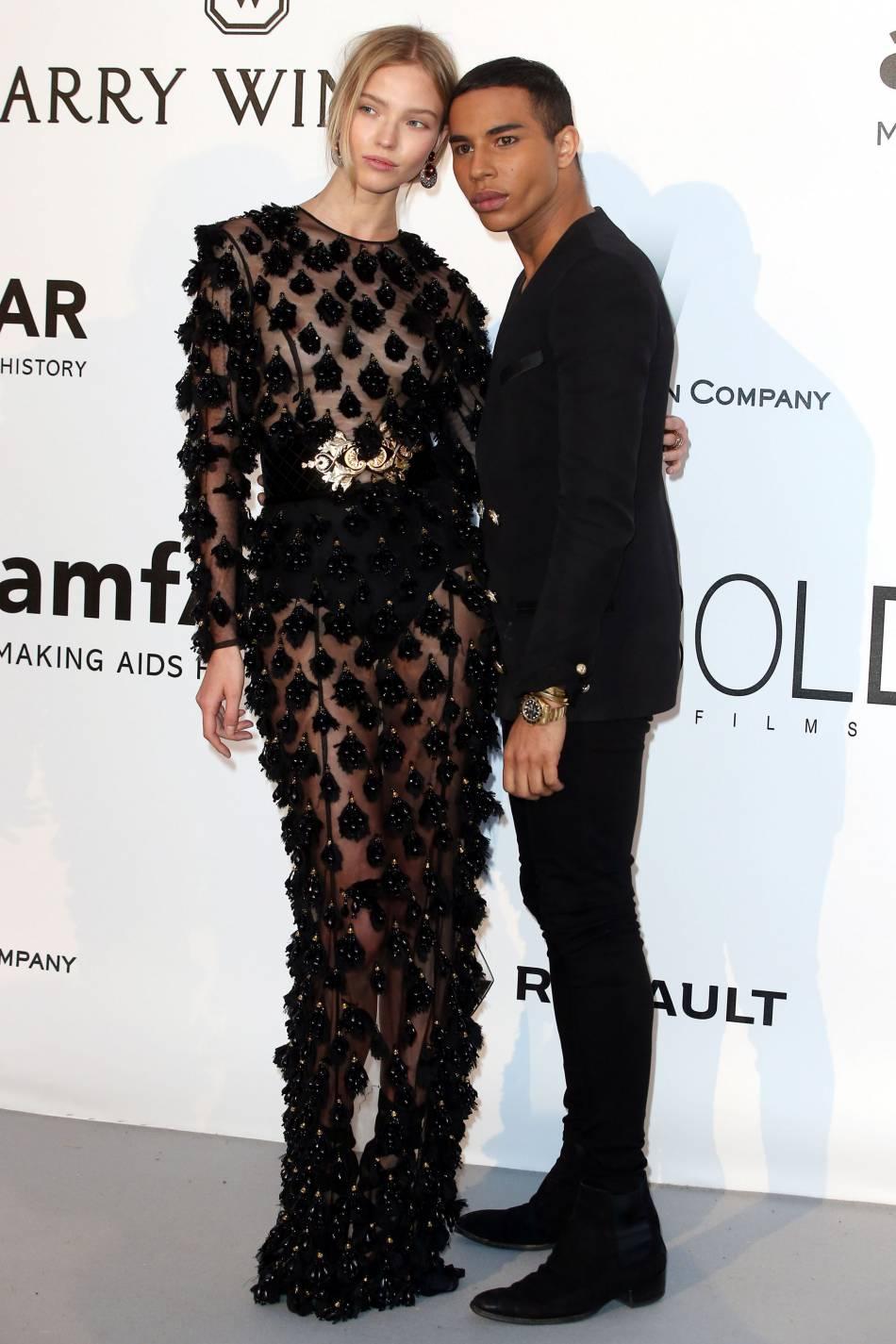 Sasha Luss et Olivier Rousteing au gala de l'amfAR Cinema against AIDS le 19 mai 2016 à Cannes.
