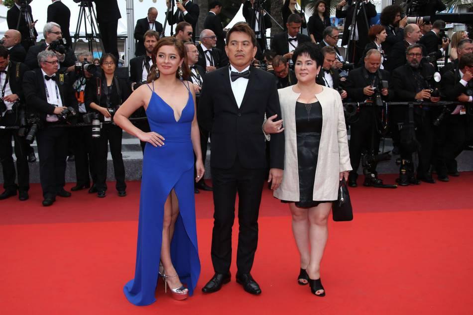 Andi Eigenmann, Brillante Mendoza, Jaclyn Jose à Cannes, le 22 mai 2016.