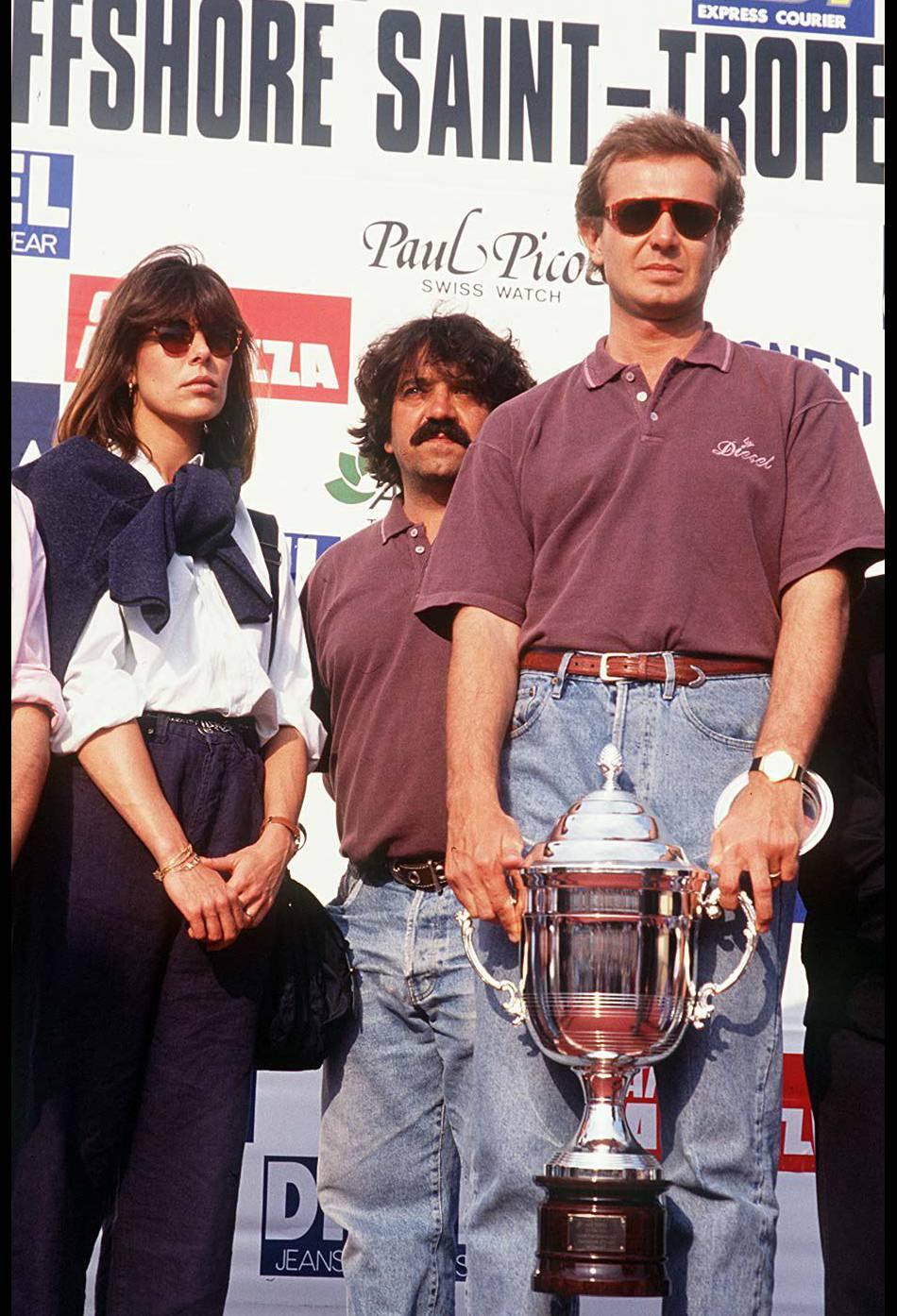 Stefano Casiraghi, vainqueur d'une course d'offshore en 1990.