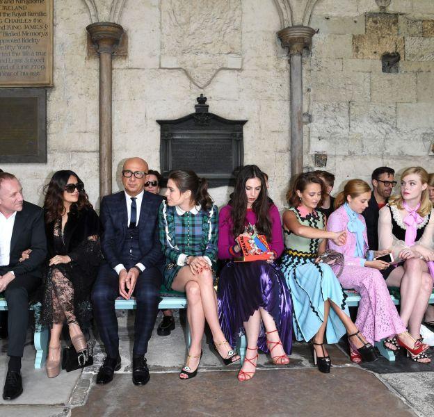 Le front row du défilé Gucci Croisière 2017 à Westminster à Londres le 2 juin 2016.