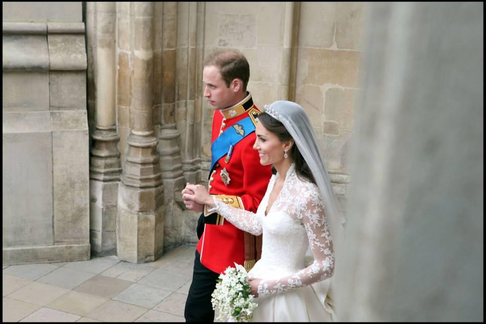 Kate Midleton et le prince William, tout juste mariés, le 29 avril 2011.