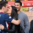 Louis Ducruet, le fils de la princesse Stéphanie de Monaco, et sa fiancée Marie participent au traditionnel match de football caritatif opposant l'A.S. Star Team for Children à l'Association Mondiale des Pilotes de F1, au stade Louis II le 24 mai 2016 à Monaco.