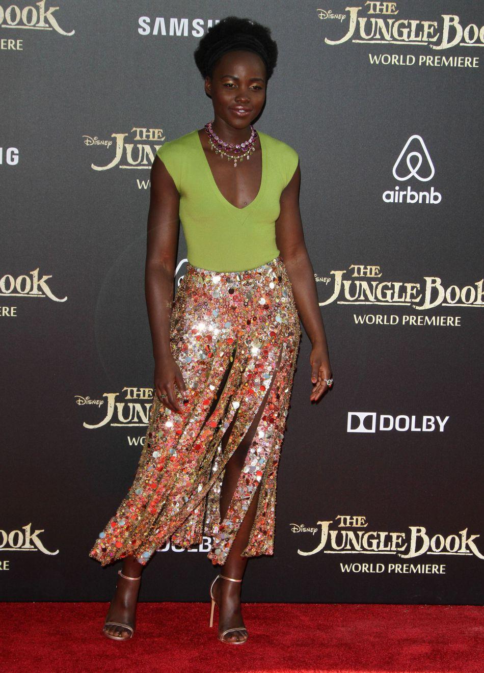 """Lupita Nyong'o lors de la première du """"Livre de la jungle"""" à Los Angeles, en avril 2016."""