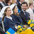 Madeleine avec Sofia et Carl Philip lors de la fête nationale suédoise.