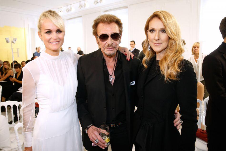 Laeticia Hallyday, Johnny et Céline Dion en front row du défilé Dior Haute Couture.