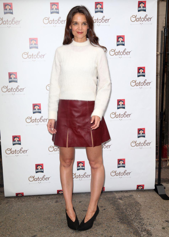 Katie Holmes, canon dans un look hivernal.