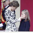 La Reine Letizia d'Espagne et ses deux filles les princesses Leonor et Sofia.