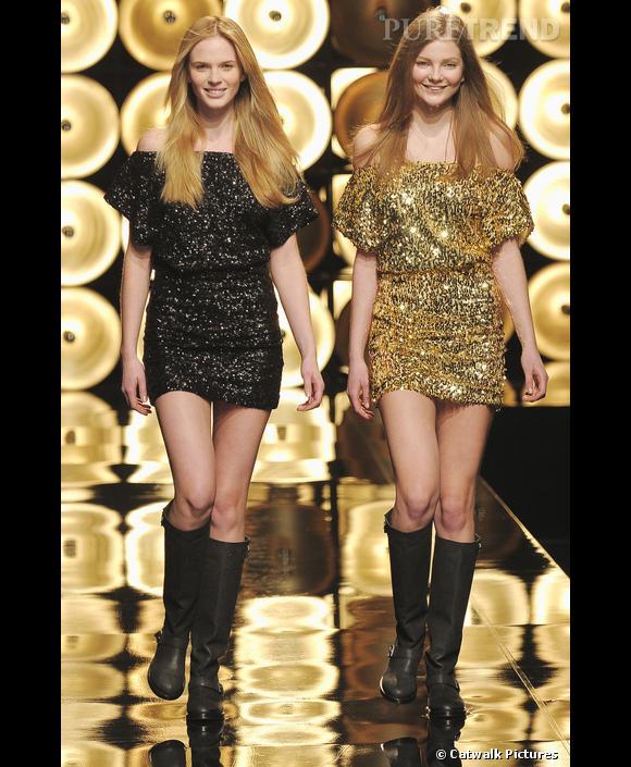 Défilé Paul & Joe  Automne-Hiver 2009-2010  Avec Sophie Albou, la mini robe à paillettes s'offre une version noire et or. Sobre ou flamboyante, il n'y a qu'à choisir selon l'humeur.