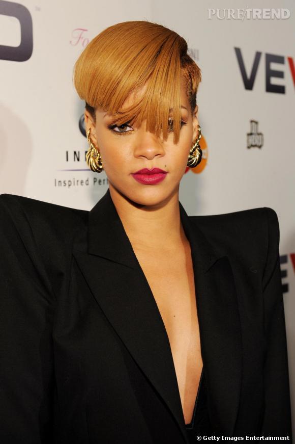 Rihanna lors du lancement de VEVO, une nouvelle chaîne musicale de YouTube, à New-York