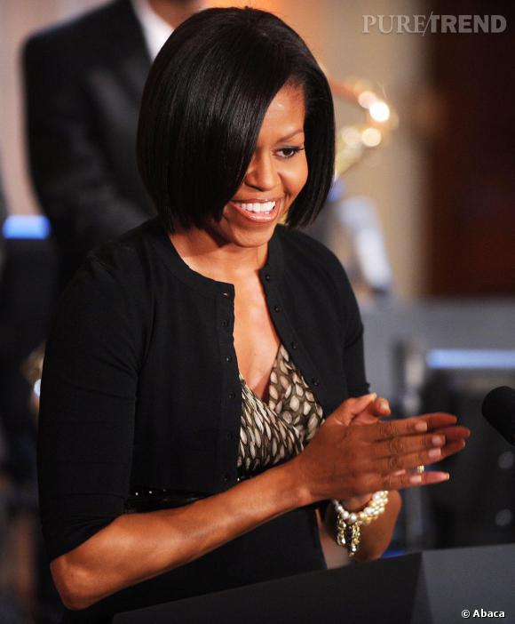 Michelle Obama à la Maison Blanche, très élégante.