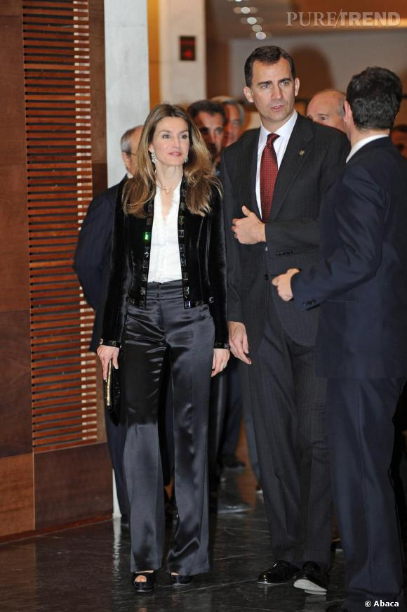 Letizia Ortiz en Espagne lors d'un concert en l'honneur de la chambre de commerce de Gerona.
