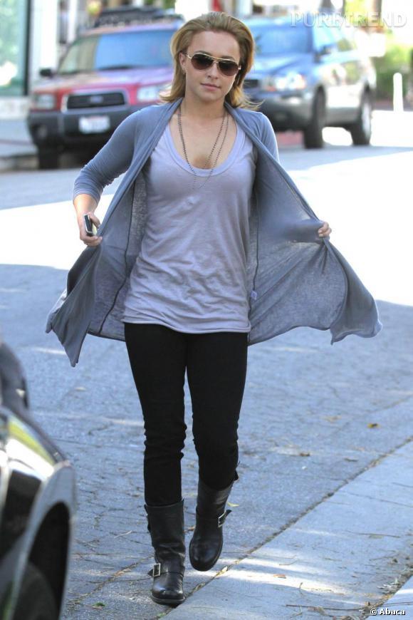 Hayden Panetière en mode casual rock pour aller au restaurant.
