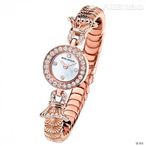 """Montre """"Ma Jolie"""", Boucheron    Montre en or rose, pavé de diamants.    Prix :  16500€"""