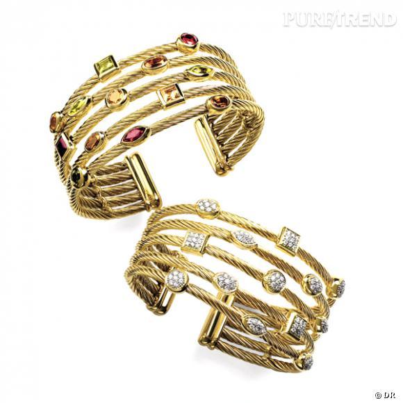 """Bracelets """"Confettis"""", David Yurman       Bracelets à 5 rangs en or jaune et diamants, ou or jaune et pierres fines.    Prix :  8415 €, et 6485€"""