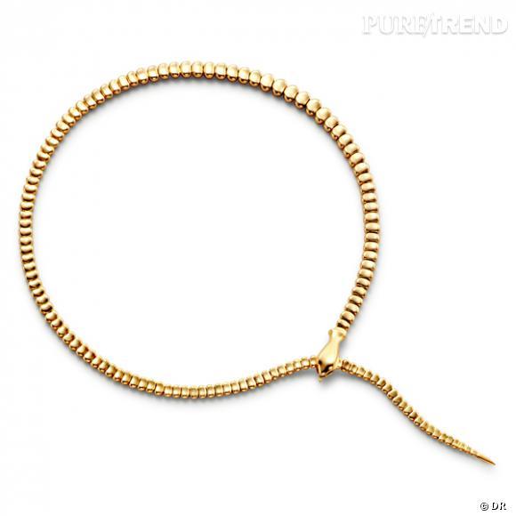 """Collier """"Serpent"""", Elsa Peretti pour Tiffany and Co.        Collier ras du cou en or jaune    Prix :  6305€"""