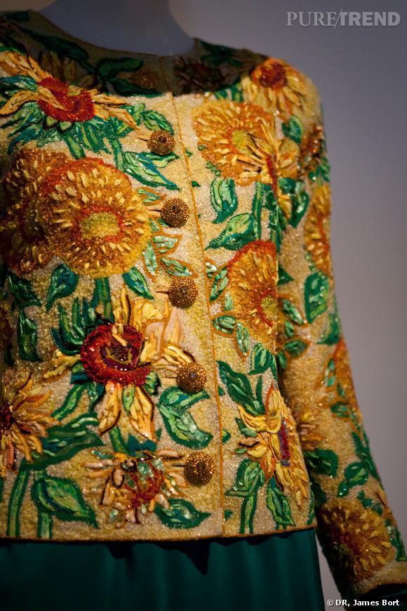 Détail de broderie Lesage : hommage à Vincent Van Gogh, collection Haute Couture, veste brodée de perles et de paillettes, printemps-été 1988
