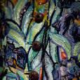 Détail de broderie Lesage : hommage à Vincent Van Gogh, collection Haute Couture, veste brodée de paillettes et de perles, printemps-été 1988