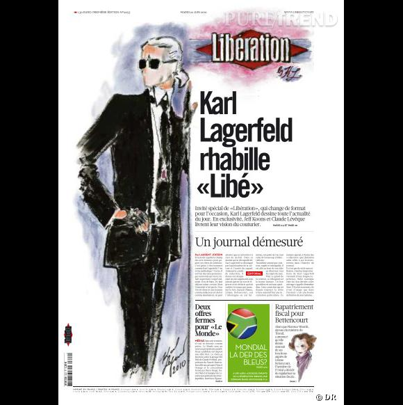 Une de Libération du 22 juin 2010, croquis de Karl Lagerfeld