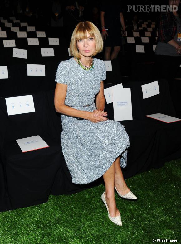 Anna Wintour au défilé Tommy Hilfiger, également aperçue chez Diane Von Furstenberg, Derek Lam ou encore Thakoon.