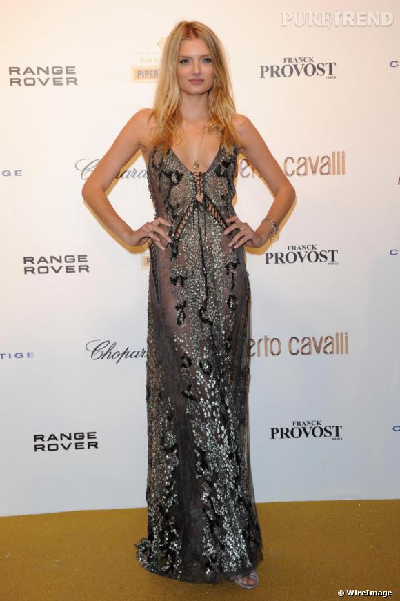 Lily Donaldson à la soirée des 40 ans de carrière de Roberto Cavalli.