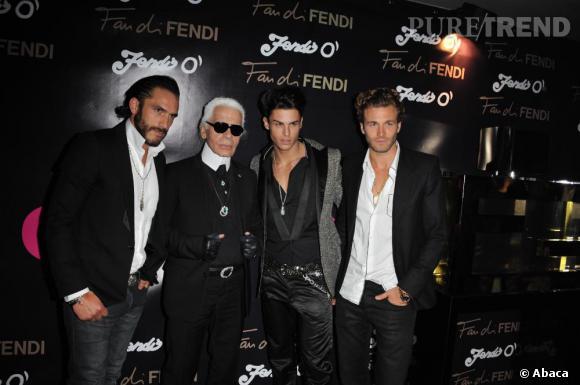 Karl Lagerfeld avec son protégé Baptiste Giabiconi