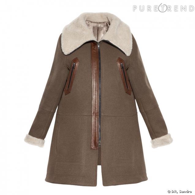 le manteau en peau lain e collection capsule grand froid chez sandro. Black Bedroom Furniture Sets. Home Design Ideas