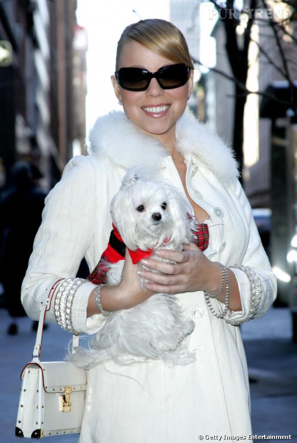 Mariah Carey donne des airs de diva désabusée à son chien assorti avec son manteau. Les deux font la paire !