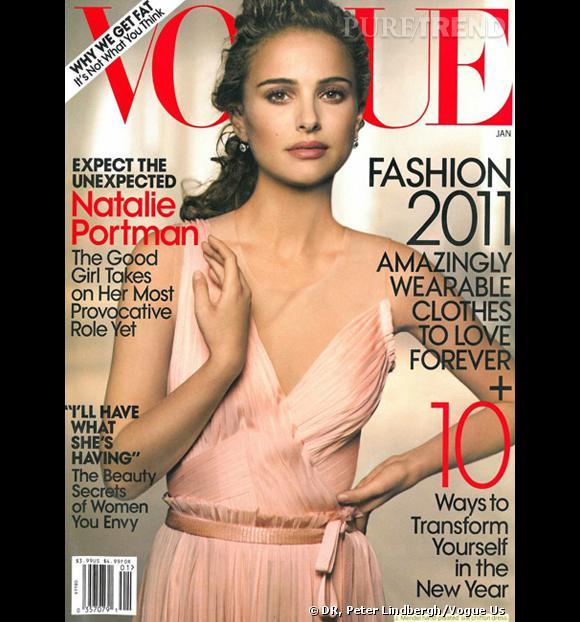 Natalie Portman en robe J.Mendel sur la couverture du Vogue du mois de janvier 2011.
