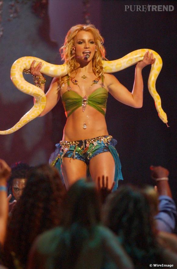 Il s'agit probablement d'un des looks de scène les plus connus de la chanteuse. Pour les MTV Video Music Awards en 2001, elle étonne tout le monde en revisitant le style charmeuse de serpent avec très peu de tissu mais avec un serpent sur les épaules.