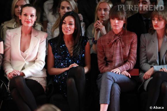 De gauche à droite : Petra Nemcova, Rosario Dawson, Rose Byrne and Bella Heathcote au défilé Tommy Hilfiger femme.